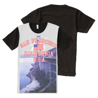 Golden Gate Bridge San Francisco American Flag All-Over Print T-Shirt