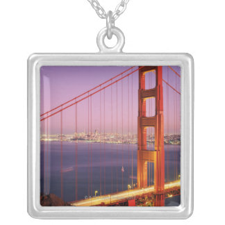 Golden Gate Bridge Silver Plated Necklace