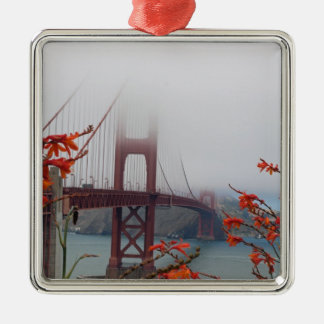 Golden Gate Bridge with Orange Flowers Christmas Ornament