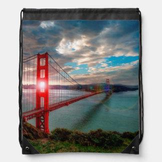 Golden Gate Bridge with Sun Shining through. Drawstring Bag
