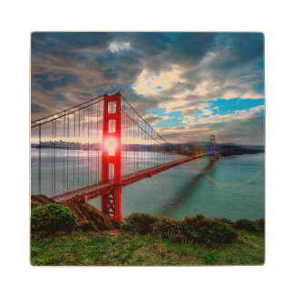 Golden Gate Bridge with Sun Shining through. Wood Coaster