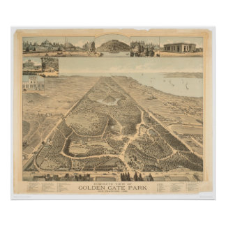 Golden Gate Park Panoramic Map 1892 (0644A) Poster