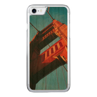 Golden Gate Printed Overlay on Wood Carved iPhone 8/7 Case