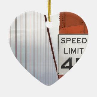 golden gate speed limit ceramic heart decoration