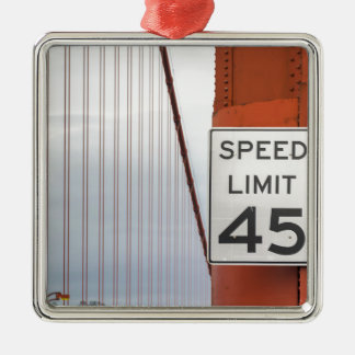 golden gate speed limit Silver-Colored square decoration