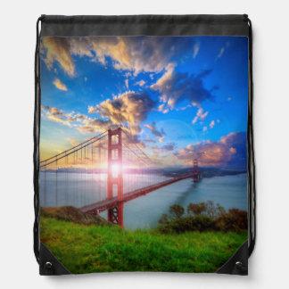 Golden Gate Sunrise Drawstring Bag