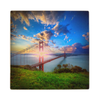 Golden Gate Sunrise Wood Coaster