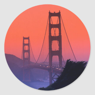 Golden Gate Sunset Round Sticker