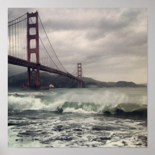 "Golden Gate Waves 12"" x 12"" Poster"