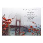 Golden Gate with Orange Flowers Wedding Invitation