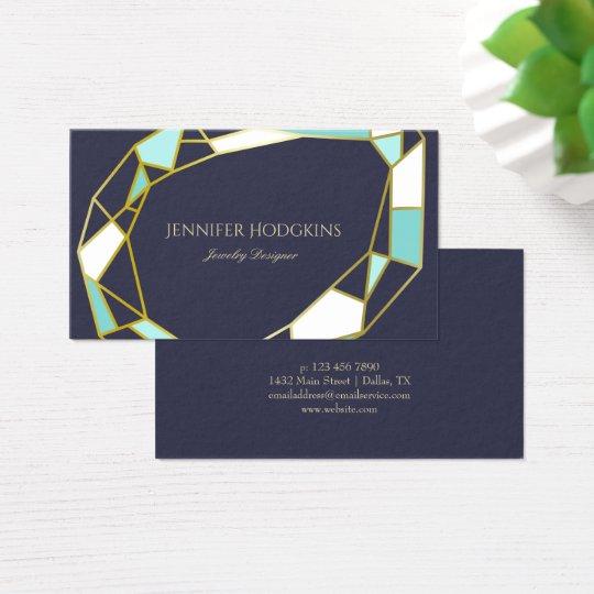 Golden Gem Outlines | Navy Blue | Jewellery Business Card