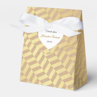 Golden Geometric Cardboard Birthday Wedding Favor Favour Box
