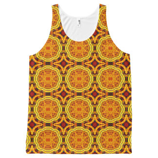 Golden Geometric Mandala Pattern Tank Top All-Over Print Tank Top
