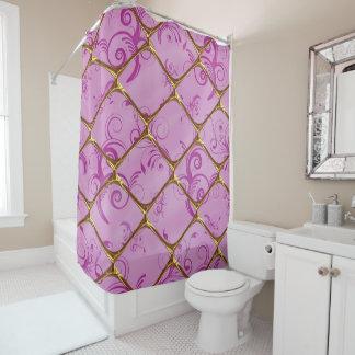 Golden Geometric Purple Floral Shower Curtain