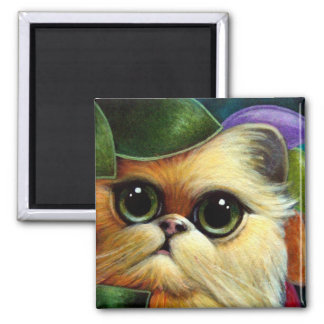 GOLDEN GINGER PERSIAN ANGEL CAT RAINBOW WINGS SQUARE MAGNET