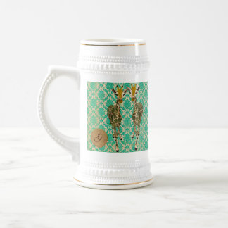 Golden Giraffes Monogram Stein Coffee Mugs