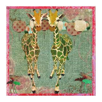 Golden Giraffes Pink Twilight Canvas Gallery Wrap Canvas