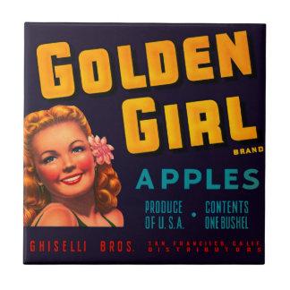 Golden Girl Apples Small Square Tile