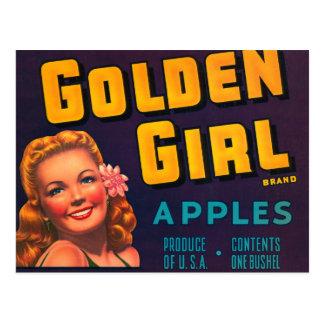 Golden Girl Brand Apples Vintage Advertisment Postcard