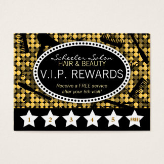 Golden Glam Custom Salon Loyalty Punch Card