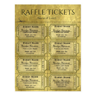 Golden Glam Raffle Tickets Postcard