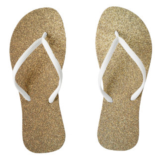 Golden Glitter Abstract Art Slim Strap Sandals Flip Flops