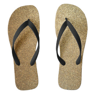 Golden Glitter Abstract Art Wide Strap Sandals Flip Flops