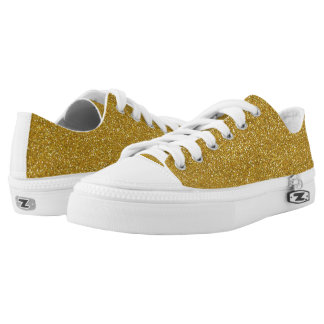 Golden glitter background printed shoes