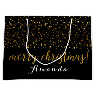 Golden Glitter Black White Merry Christmas Large Gift Bag