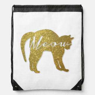 Golden Glitter Cat, Meow Quote Backpack