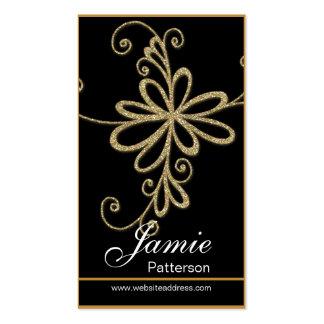 Golden Glitter Flower Vertical Business Cards