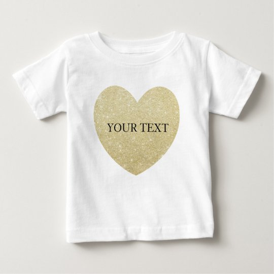 Golden Glitter heart Personalise Baby T-Shirt