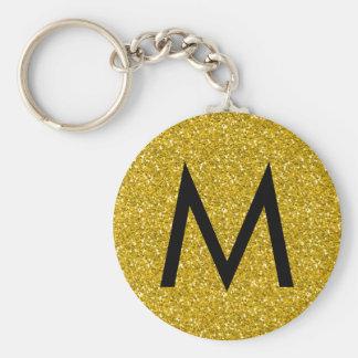 Golden glitter monogram keychain
