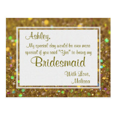 Golden Glitter - Will You Be My Bridesmaid? Postcard at Zazzle