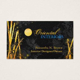 Golden Glittering Bamboos Black Business Cards