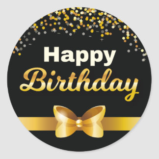 Golden glitters Happy Birthday black background Round Sticker