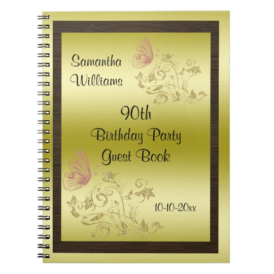 Golden Glitters & Sparkly Butterfly 90th Birthday Notebook