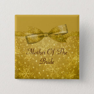 Golden Glitz & Shimmer Snowflakes Wedding 15 Cm Square Badge