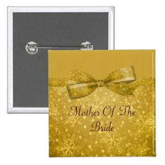 Golden Glitz & Shimmer Snowflakes Wedding 15 Cm Square Badge