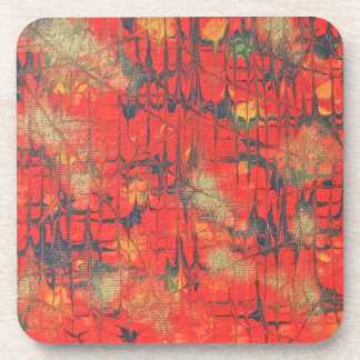 Golden Glow Abstract Painting Coaster