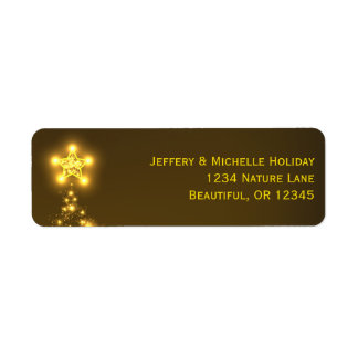 Golden Glow Christmas Tree Address Labels
