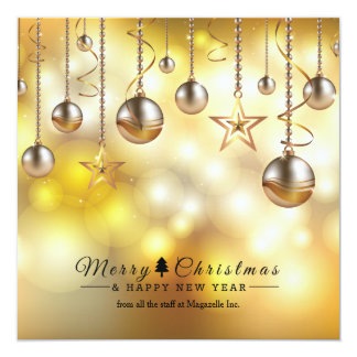 Golden Glow Corporate Holiday Cards 13 Cm X 13 Cm Square Invitation Card