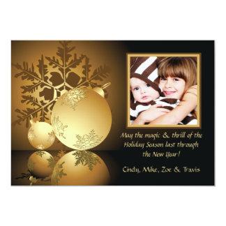 Golden Glow Holiday Photo Card 13 Cm X 18 Cm Invitation Card