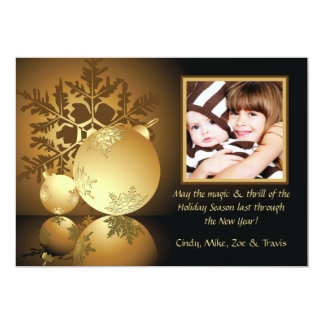 Golden Glow Holiday Photo Card 13 Cm X 18 Cm Invitation Card
