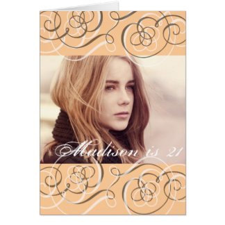 Golden Glow Swirls 21st Birthday Party Photo Greeting Card