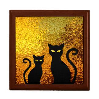 Golden Glow Textured Black Cat Kittens Gift Box