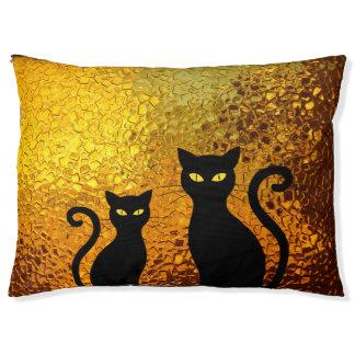 Golden Glow Textured Black Cat Kittens Pet Bed