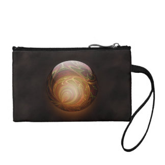 Golden Glowing Round Marble Abstract Change Purse