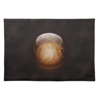 Golden Glowing Round Marble Abstract Placemats