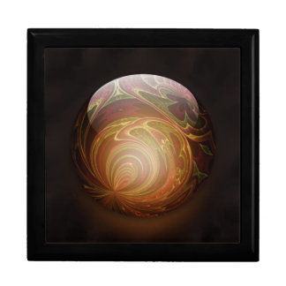 Golden Glowing Round Marble Abstract Large Square Gift Box